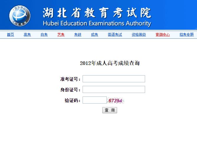 2012年中南财经政法大学成人高考成绩查询