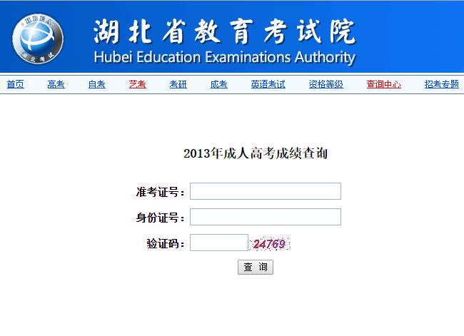 2013年中南财经政法大学成人高考成绩查询
